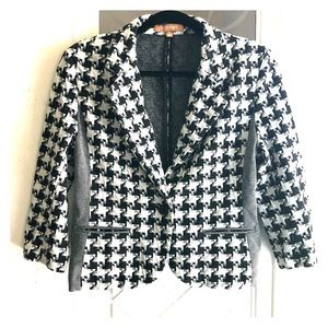 Ellen Tracy Houndstooth 3/4-sleeve blazer